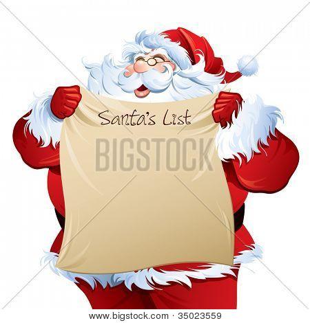 """Santa hält eine """"santa's List""""."""