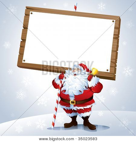 Santa holding a blank sign with snowing background.