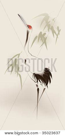 Oriental style painting, Red-crowned Crane