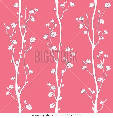 Patrones sin fisuras de la flor de ciruelo oriental