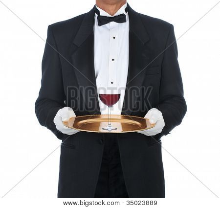 Waiter Wearing Tuxedo Holding Tray with a glass of red wine. Square Format over a white background.