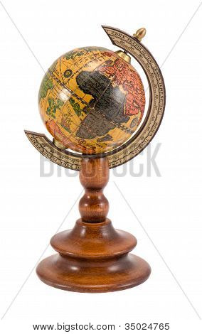 Europe Africa View Wooden Globe Isolated On White