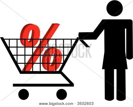 Stick Woman Pushing Shopping Cart With Percent.
