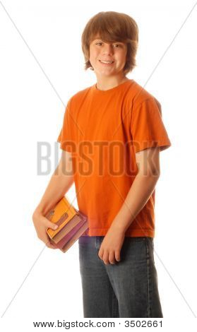 Young Teen Boy With School Books