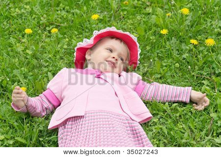 Little Girl In Hat Lying On The Lawn