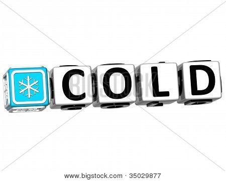 3D Cold Button Click Here Block Text