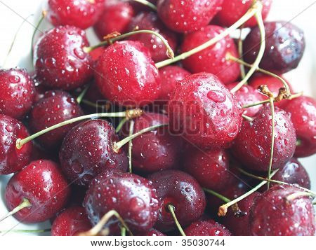 Water on some Cherries