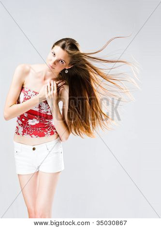 Windswept Long Haired Brunette Woman.