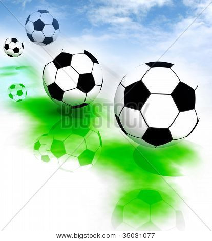 four football balls on field with blue sky