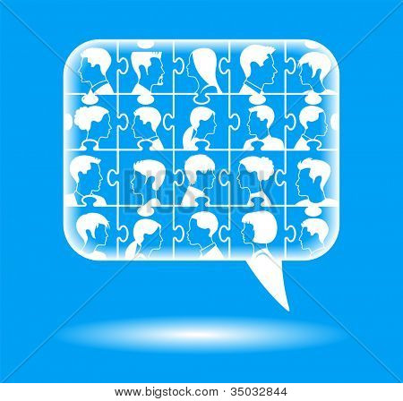 Puzzles with people form a Speech Bubble. concept communication
