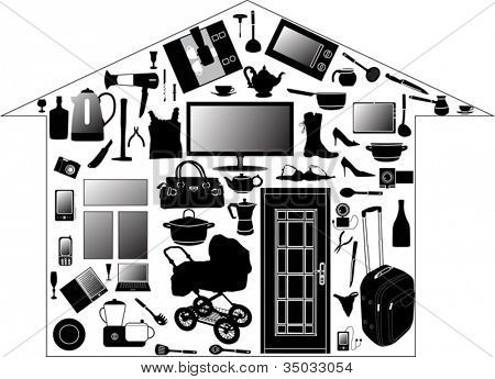illustration with house from different home devices