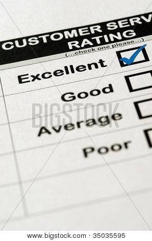 Exzellenten Kundenservice Bewertung