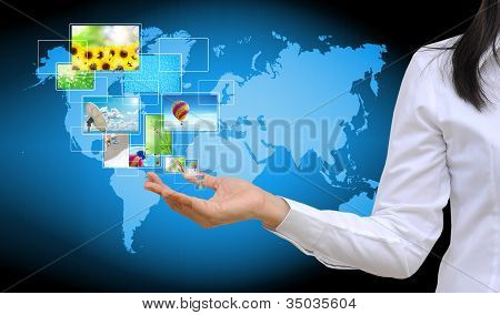 working women hand holding streaming images virtual buttons