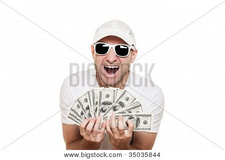 Man Holding Dollar Currency In Hands