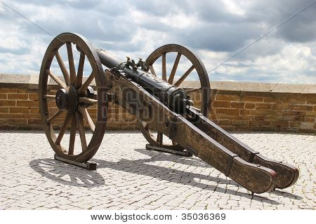 Antique Cannon On Fortress Wall
