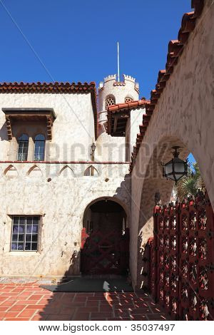 Scotty's Castle in Death Valley in the USA. The inner courtyard paved with red marble