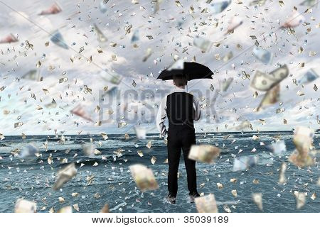 Money rain and businessman with umbrella