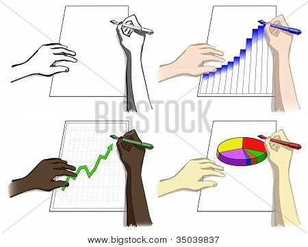 Set of hands, writing, drawing diagrams