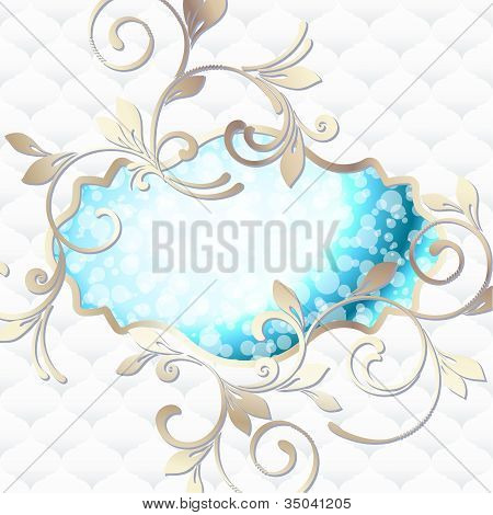 Elegant rococo label in vibrant blue on white