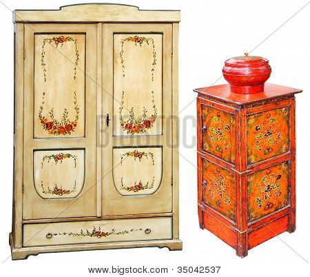 Old Painted Wooden Cabinets