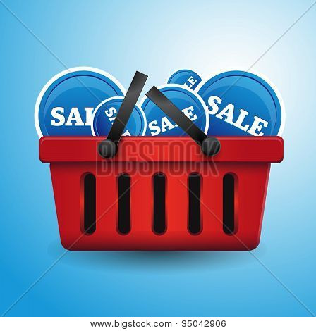 Shopping basket full of sale