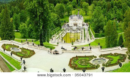 Landscape with Garden in Linderhof Palace.
