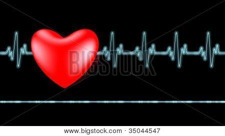EKG-Herzschlag über schwarz