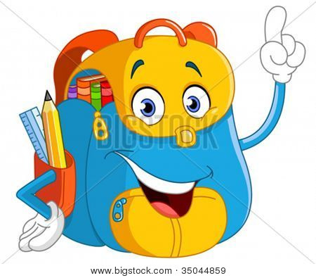 Cartoon backpack pointing with his finger