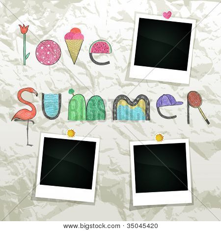 Summer grunge scrapbook with empty photo frames, vector eps10 illustration