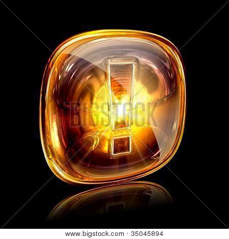 Exclamation Symbol Icon Amber, Isolated On Black Background