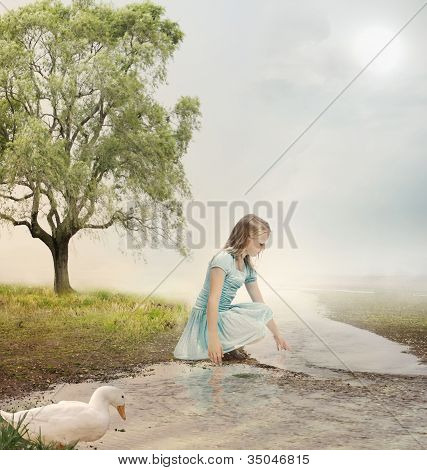 Young Girl At A Brook