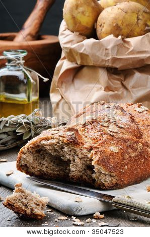 Rustic Still-life With Fresh Bread
