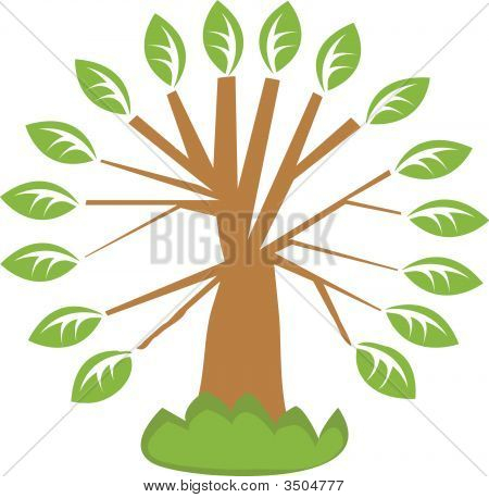 Vector Illustration With Single Tree