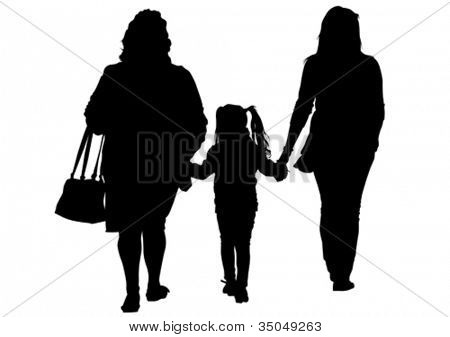 Vector image of two women and a child