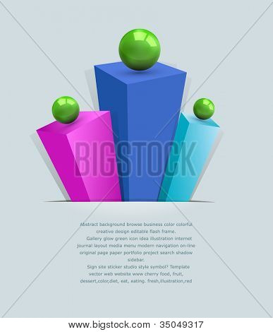 vector, abstract 3d background with multi-colored prisms and green balls