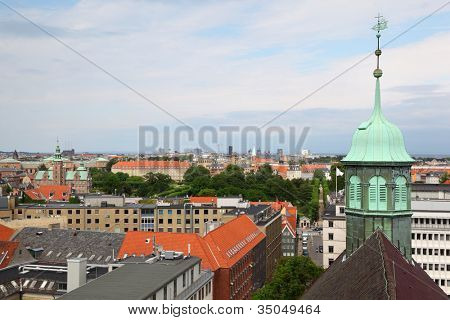 Beautiful view of Copenhagen city from Rundetorn Tower, Denmark.
