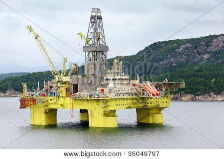 Ocean offshore oil rig drilling platform off near coast of Stavanger, Norway.
