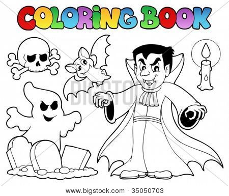 Coloring book Halloween topic 5 - vector illustration.