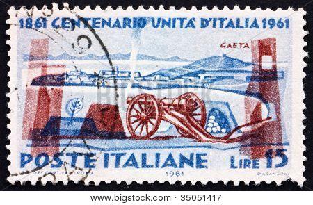 Postage stamp Italy 1961 Cavalli Gun and Gaeta Fortress
