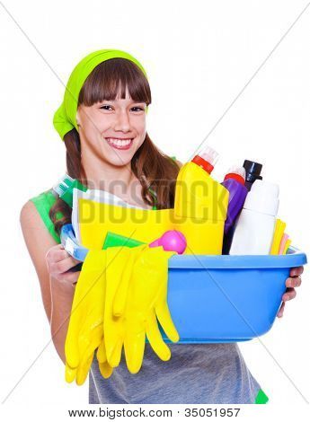 Laughing teenage girl ready for domestic work