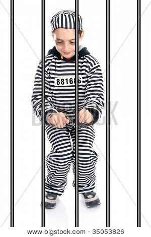 Eine Ansicht eines traurig Gefangenen im Gefängnis