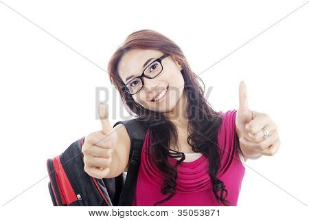 College Student Showing Thumbs-up