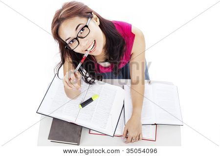 Cute College Student Studying