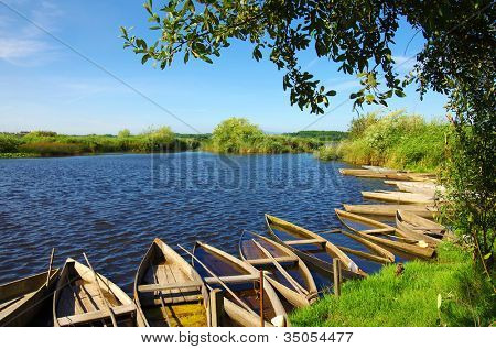 Beautiful landscape of a lake with green vegetation and typical boats in Pateira de Fermentelos, Portugal