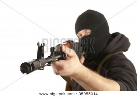 Man In Mask With Gun