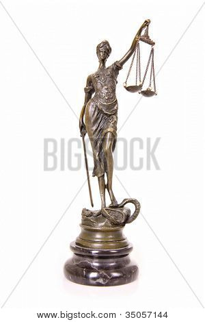 A picture of a Themis statue standing over white background