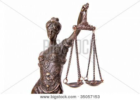 A picture of a Themis statue over white background