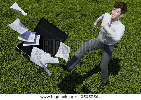 Businessman on a background of green grass.