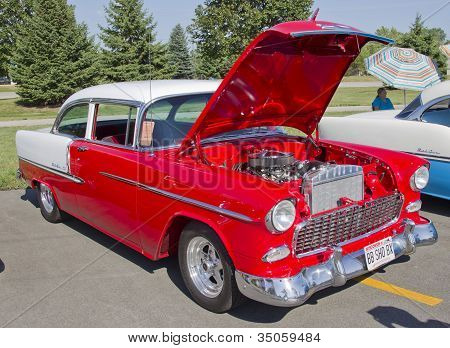 Red & White 1957 Chevy Bel Air