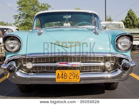 Powder Blue & White 1957 Chevy Bel Air Front View
